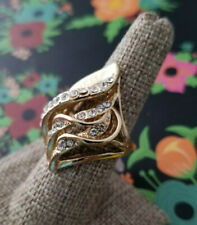 Swirl Statement Ring Rhinestone Gold Plated Leaf Cocktail Chunky Large Clear CZ