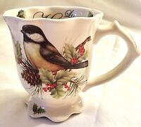 Cracker Barrel Christmas Mug Bird Chickadee Coffee Cup Season Of Peace Scalloped