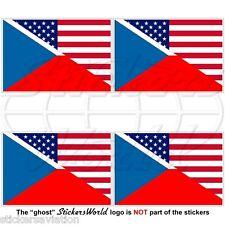 USA United States America-CZECH REPUBLIC & American Flag 50mm Stickers Decals x4