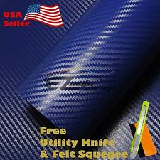 "*12"" x 60"" 3D DARK BLUE CARBON FIBER Texture Vinyl Wrap Sticker Decal Film Sheet"