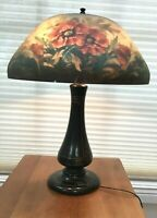 Antique American Edwardian Patinated Spelter Reverse Painted Glass Table Lamp