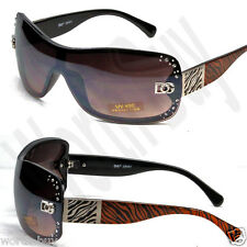 New DG Designer Womens Rhinestones Sunglasses Shades Fashion Brown Zebra Print
