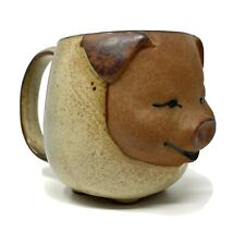 Vtg Art Pottery PIG PIGLET FACE Coffee Mug Stoneware