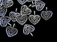25 Pcs - 16mm Tibetan Silver Filigree Heart Pendants Charms Jewellery S123