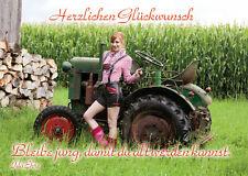 2 Postkarten Herzlichen Glückwunsch Lederhose Bayern Tracht Traktor jung bleiben