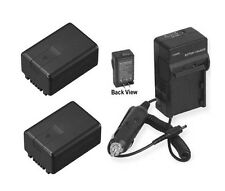 Two 2 Batteries + Charger for Panasonic HDCTM60P HDCTM60PC HDC-TM90 SDR-H100K