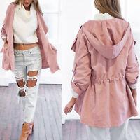 Womens Hooded Long Coat Jacket Trench Windbreaker Parka Outwear PINK Fashion