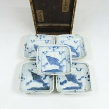 C544: Real old Chinese KOSOMETSUKE blue-and-white porcelain 5 small plates w/box