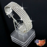 Women Fashion Crystal Rhinestone Bracelet Bangle Wedding Bridal Wristband US