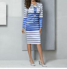 Masseys Women's Stripe Suit Set in White/Blue - 24W