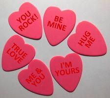 12pk Valentines Heart Shaped Guitar Picks .71mm Celluloid Medium Printed Pics