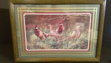"Vintage Homco Home Interiors Picture Pheasant Family 22"" X 15"""