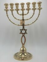 BRASS MENORAH  WITH STAR OF DAVID MESSIANIC 7 BRANCHES 15.5 INCH TALL(39.5 CM)