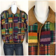Vintage Foxrun Patchwork Plaid Wool Blend Barn Jacket Coat Leather Collar M/L