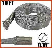 "1/4"" Tinned Copper Metal Braid Sleeving Flexible EMI RFI Shielding Wire Mesh 0.1"
