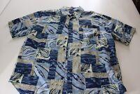 Roundtree & Yorke 100% Silk Bluish paisley Pocket CAMP SHIRT XL Extra Large