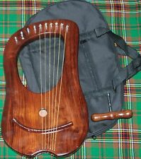 10 Strings Rosewood Lyre Harp Celtic + Tuning Key & bag Case/ Natural Rose wood