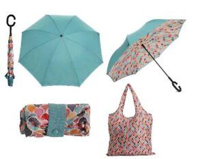 "47"" TEAL Umbrella & Matching Reusable Tote Bag C Handle DSW NWT"