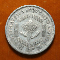 KM# 27 - Sixpence - 6d - Silver (.800) - George VI - South Africa 1937 (F)