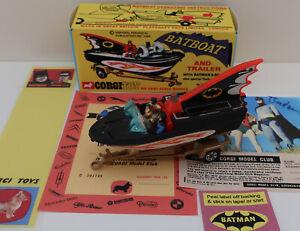 Original 107 Corgi Batboat for Batmobile w/ Trailer, Repro Box & Extras!