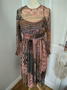 Zara Patchwork Boho Midi Dress Paisley Size XS Superb Condition