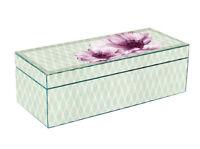TaylorHe Long Glass Jewellery Trinket Box Beautiful Geometric Floral Pattern