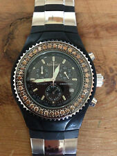 Nuevo Reloj Watch AQUAMARIN - Brown diamonds bezel Chrono Quartz - Rubber strap