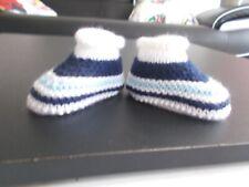 chaussons bébé blancs-TRICOT FAIT MAIN- 1er age