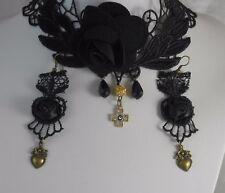 Set Bondage Collar Earrings BDSM Fetish Party Sub Slave Sissy Gothic Cross A