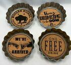 "Godinger Beer Bottle Cap Coasters Set of 4 NEW 4"" x 4"""