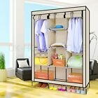 New Beige Triple Portable Canvas Wardrobe Hanging Rail Large Storage Space