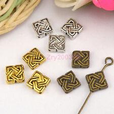 40Pcs Tibetan Silver,Gold,Broze Knot Square Spacer Beads Jewelry DIY M1147