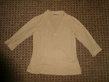 Bhs-ladies Maglione Pullover Top Taglia 12 Smart Casual Everyday Workwear Beige VNECK