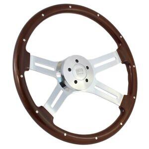 """18"""" Wood Steering Wheel Chrome 4 Spoke Freightliner, Kenworth, Peterbilt, Mack"""
