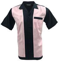 Rockabilly Fashions Men's Shirt Retro Vintage Bowling 1950 1960  Black Pink