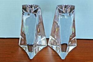 Heavy Elegant Crystal Solid Glass Mid Century Candle Holders Candlesticks Pair