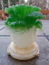 """Chinese Fengshui Green Cabbage Bok Choy Statue 5""""5H x 4""""5R"""