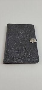 oberon design leather Address/Phone Book Floral black  8x5