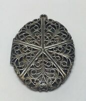 LARGE VINTAGE ORNATE STERLING SILVER INTRICATE OVAL PICTURE LOCKET PENDANT GOTH