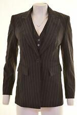 KAREN MILLEN Womens 1 Button Blazer Jacket Size 10 Small Black Striped  M205