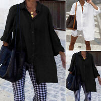 Women Long Sleeve Button Down Shirt Tee Top Loose Plain Basic Blouses Mini Dress