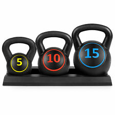 BCP 3-Piece Kettlebell Exercise Fitness Weights Set w/ Base Rack - Black