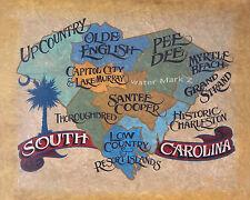 South Carolina State Print art decor  vintage  beach palmetto state charleston