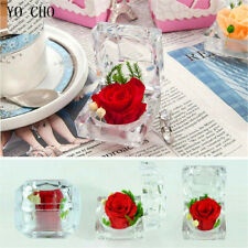Real Fresh Preserved Rose Flower Crystal Ring Box Valentine's Day Birthday Gift