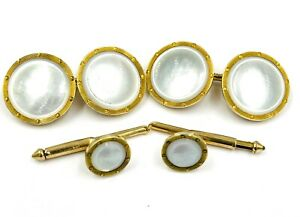 Larter and Sons 14k Yellow gold mother of pearl Cufflinks and buttons