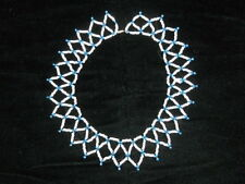 Vintage Ethnic Blue & White Beads Tribal Fashion Jewelry Collar Type Necklace