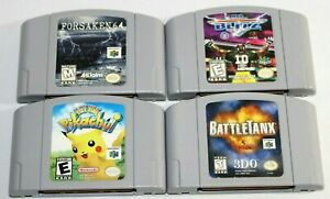 Lot of 4 N64 Nintendo 64 Games! ALL TESTED! Pikachu, BattleTanx, NFL Blitz, MORE