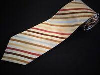 New Jos A Bank Tie Gold Multi Color Stripe Woven Luxury Designer Jacquard Silk