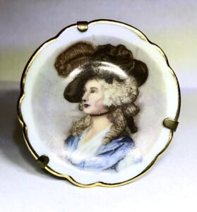 Vintage Miniature Ceramic Limoges Plate on Stand with Woman's Image