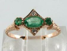 DAINTY 9K 9CT ROSE GOLD COLOMBIAN EMERALD & DIAMOND RING